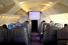 Boeing 747 Business Class Cabin Royalty Free Stock Photos