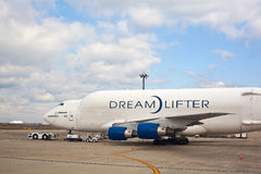 Boeing 747 cargo plane in airport. A cargo plane in the central airport, Nagoya, Japan. The Boeing 747 Large Cargo Freighter (LCF), Dreamlifter, is a wide-body Stock Photos