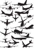 Boeing 747 silhouetten Stock Foto's