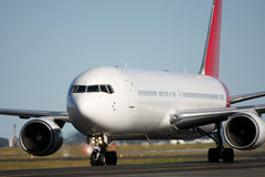 Boeing 767 jet on runway. Boeing 767 aircraft on the runway Royalty Free Stock Photo