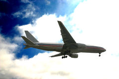 Boeing 777. A Boeing 777 is coming in for landing Stock Photo