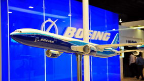 Boeing 777 model plane at Singapore Airshow 2010 Stock Photo