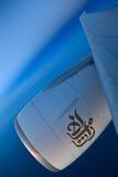 Boeing 777 no vôo Fotografia de Stock Royalty Free