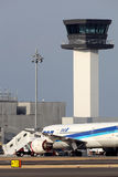 Boeing 787 aterrizado en emergencia Foto de archivo libre de regalías