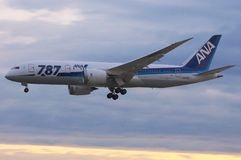 Boeing 787 Dreamliner. Boeing's 787, aka Dreamliner, is currently the most efficient long haul passengers airplane. Seen here in ANA's special livery, it Stock Image