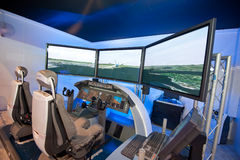 Boeing 787 Dreamliner flight simulator at Singapore Airshow 2014 Stock Photo