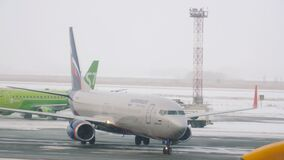 Boeing Aeroflot arrival in the winter city of Novosibirsk