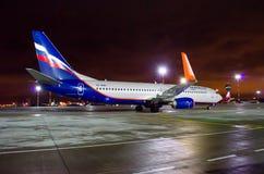 Boeing 737 Aeroflot-Fluglinien, Flughafen Pulkovo, Russland St Petersburg am 22. November 2017 Lizenzfreies Stockbild