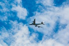 Boeing 747-400 Air Bridge Cargo company in the sky royalty free stock images