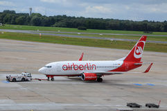 Boeing Airberlin in luchthaven Hamburg Royalty-vrije Stock Afbeelding