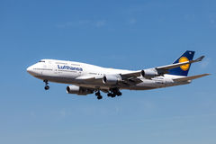 Boeing 747-400 aircraft of the Lufthansa airline Royalty Free Stock Image