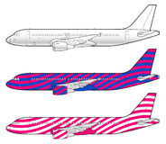 Boeing aircraft template. Boeing aircraft technical drawing in vector format Royalty Free Stock Photo