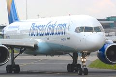 Boeing 757 - 200 aircraft. A Boeing 757 - 200 Thomas cook aircraft taxiing for departure at Manchester airport Stock Photo