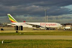 A Boeing 777 airplane from Ethiopian Airlines (ET) royalty free stock photography