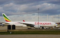 A Boeing 777 airplane from Ethiopian Airlines (ET) Royalty Free Stock Photos
