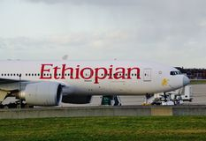 A Boeing 777 airplane from Ethiopian Airlines (ET) Stock Image