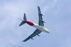 Boeing 747-400 av det Qantas flygbolaget Royaltyfria Bilder