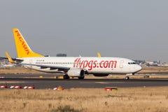 Boeing 737-800 av det turkiska Pegasus flygbolaget Royaltyfri Fotografi