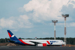 Boeing 767 Azurair Airlines at apron. Of Moscow Airport Domodedovo Royalty Free Stock Image