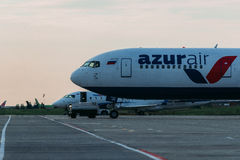 Boeing 767 Azurair Airlines at apron. Of Moscow Airport Domodedovo Royalty Free Stock Images