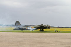 Boeing B-17 Flying Fortress on stand at Duxford Stock Photo