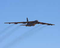 Boeing B-52 Stratofortress. Flying at the Edwards AFB open house with bomb bay doors open stock photos