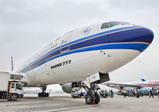 Boeing 777 on Beijing Capital International Airport. Royalty Free Stock Photography