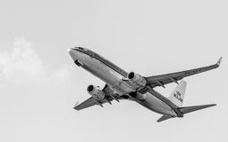 Boeing 737 in Black and White. Boeing 737 by KLM Royal Dutch Airlines copy space. Boeing 737-8K2 (WL) named Goose/Gans (PH-BXH) in the flight to Amsterdam Stock Photo
