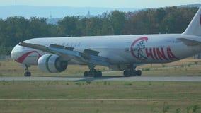Boeing 777 braking after landing stock video