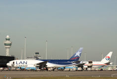Boeing cargo planes 777 in a Row. Royalty Free Stock Photo