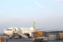 Charter plane of Dutch Transavia at Eindhoven airport, Netherlands Royalty Free Stock Photo