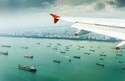 Boeing chmur nad powietrza podróży skrzydła Obrazy Royalty Free