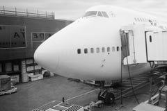 Boeing 747 cockpit Arkivfoto