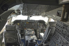 Boeing 747 cockpit. Airplane cockpit after a successfully landed flight Stock Image