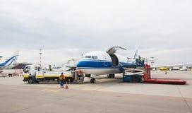 Boeing 737 company Volga-Dnepr. Cargo aircraft preparing for takeoff. VNUKOVO, MOSCOW REGION, RUSSIA - JULY 28, 2016: Vnukovo international airport. Boeing 737 royalty free stock photo