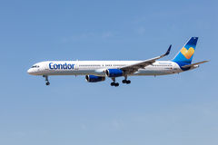 Boeing 757-300 of the Condor Airline. FRANKFURT MAIN - JULY 10: Boeing 757-300 airplane of the german leisure airline Condor which is based in Frankfurt. July 10 Royalty Free Stock Image