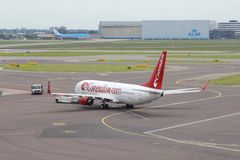 Boeing 737-800 of Corendon is departing, Amsterdam Schiphol airport, Netherlands  Stock Photo