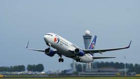 Boeing 737-8CX del lanzamiento de Travel Service almacen de metraje de vídeo