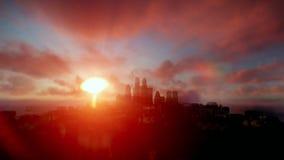 Boeing, das über Nachtstadt mit schönem Sonnenaufgang kreuzt stock video footage