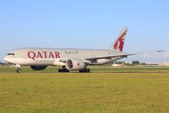 Boeing 777 de Quatar Images libres de droits