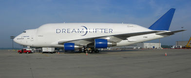 Boeing dreamlifter - 787 transport Royalty Free Stock Photography