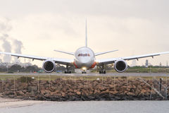 Boeing 787 dreamliner airliner on runway Stock Photography