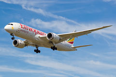 Boeing 787 Dreamliner Ethiopian Airlines. Boeing 787 Dreamliner Ethiopian Airlines landing at London Heathrow Airport Stock Images