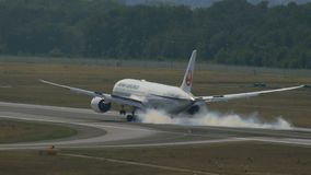 Boeing 787 Dreamliner of Japan airlines on final approach stock footage