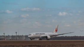 Boeing 787-8 Dreamliner Japan Airlines tar av Arkivfoto