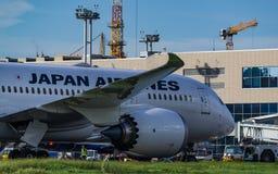 Boeing 787-8 Dreamliner Japan Airlines tar av Arkivfoton