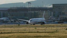 Boeing 787 Dreamliner of Japan Airlines taxiing stock footage