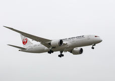 Boeing 787 Dreamliner. Los Angeles, USA - May 31, 2015: An airplane of Japan Airlines (Boeing 787 Dreamliner) landing at Los Angeles International Airport Stock Images