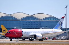 Boeing 787 dreamliner norwegian airlines in airpor Stock Photo