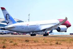 Boeing 787-9 dreamliner from norwegian airlines takes elevation maniobre in the international airport of alicante, spain Royalty Free Stock Image